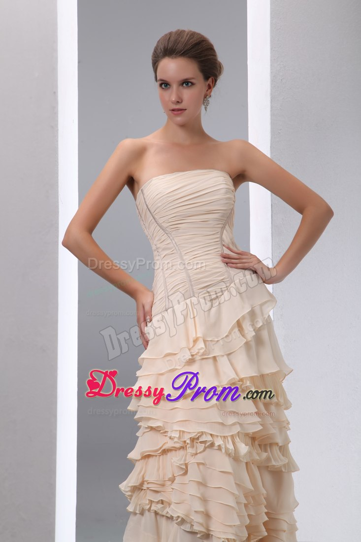 Column Strapless Champagne Prom Dress with Ruffled Layers