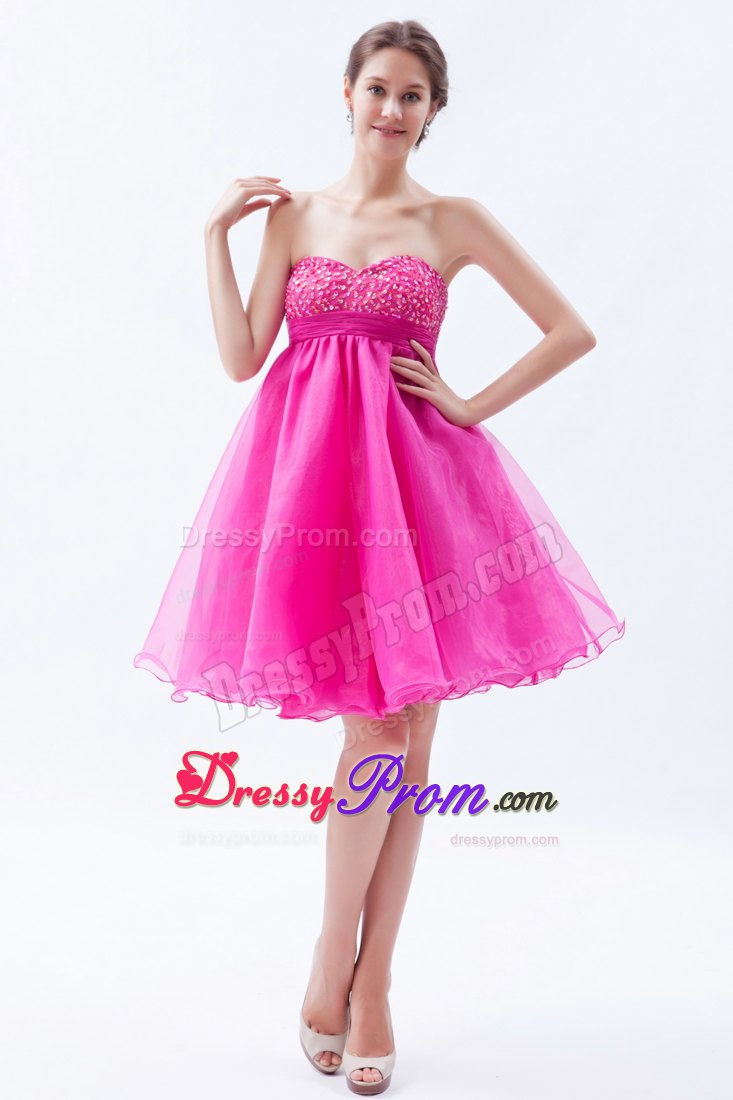 Beading Accent A-line Sweetheart Organza Prom Dama Dresses in Hot Pink