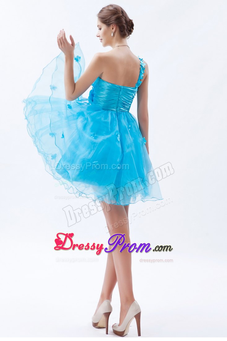 Baby Blue One Shoulder Mini Organza Prom Dama Dress with Appliques
