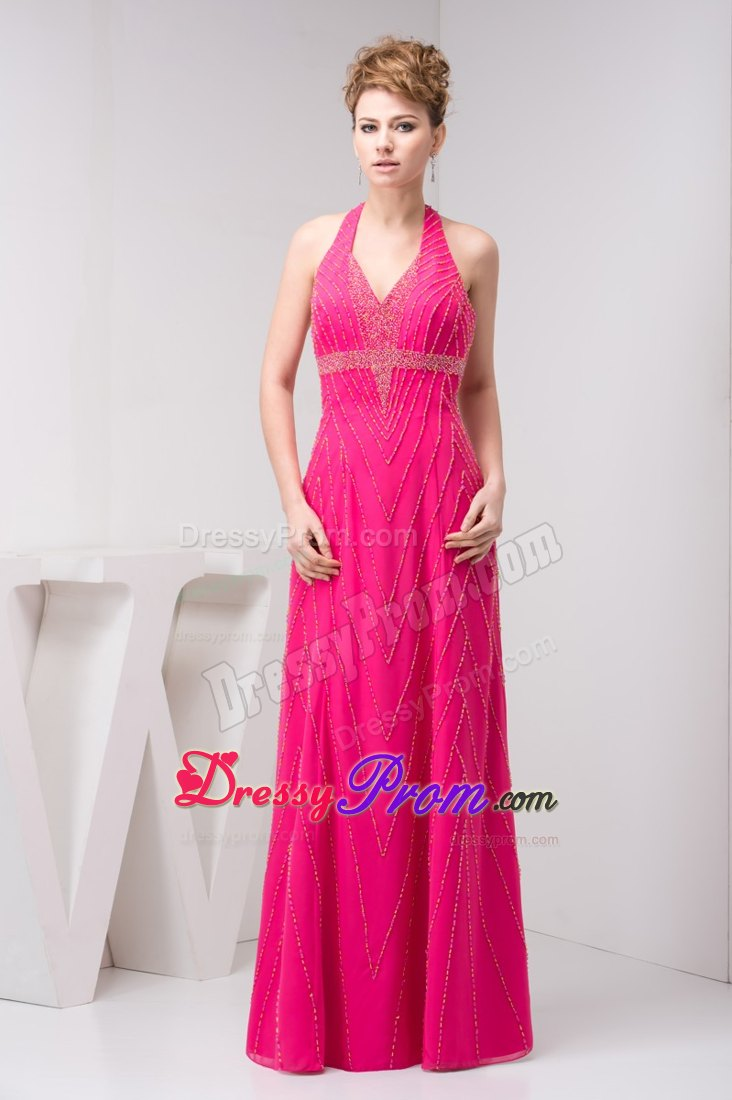 Backless Denver Hot Pink Long Prom Dress with Beading