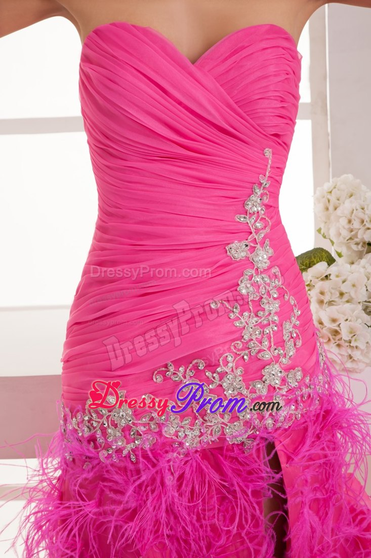 Ruched Appliqued Sweetheart Hot Pink Feather Prom Gown Dress