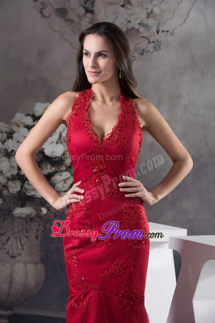 Wine Red Halter Top Prom Dress For Women With Embroidery