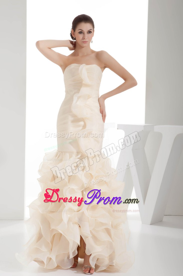 Cream Colored Column Organza Prom Homecoming Dress with Ruffles