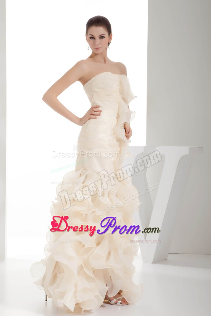 Cream Colored Column Organza Prom Homecoming Dress With
