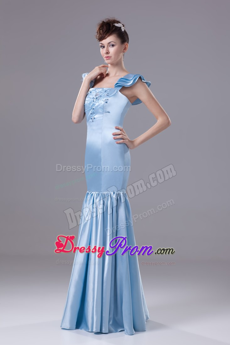 Beaded Square Mermaid Prom Celebrity Dress in Light Blue in Vogue