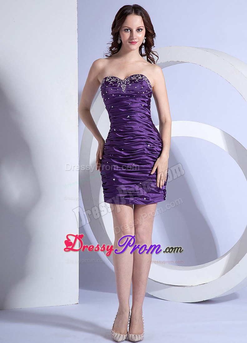 Eggplant Purple Column Mini Prom Holiday Dress with Embroidery