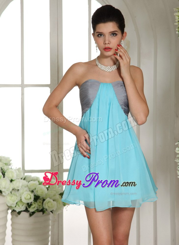 Gray and Aqua Blue Empire Dresses for Prom Night of Mini Length