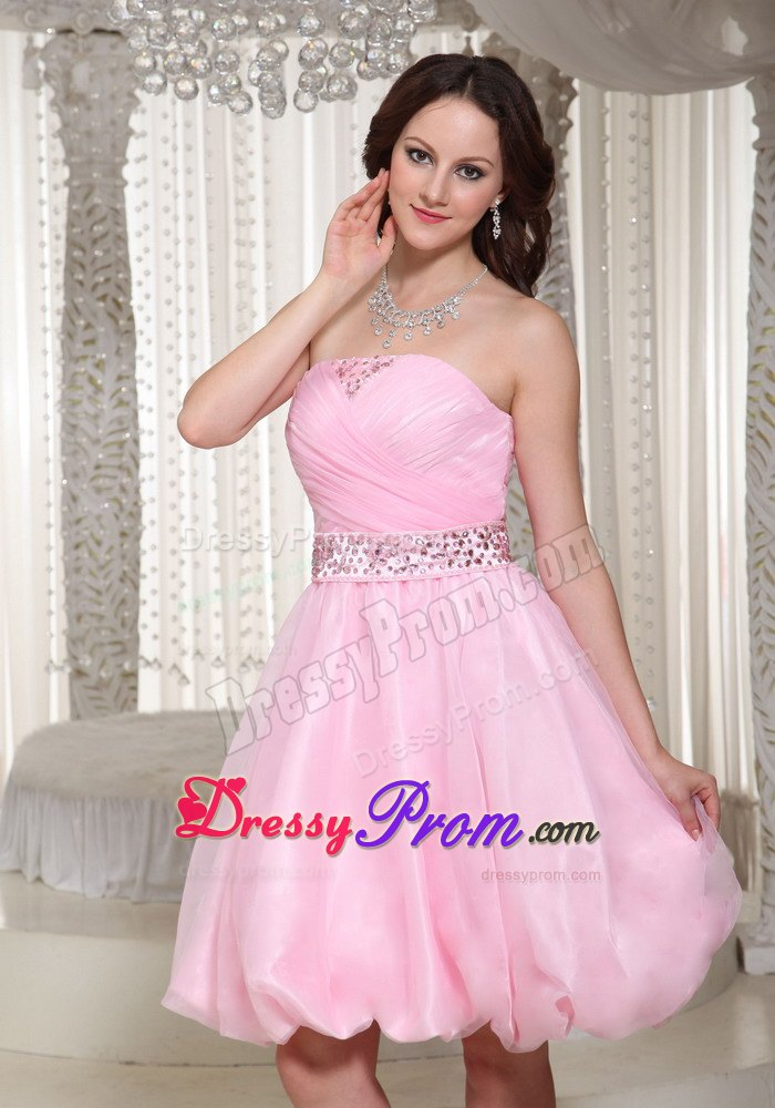 Ruched And Beaded Baby Pink Strapless Short Dress For Prom
