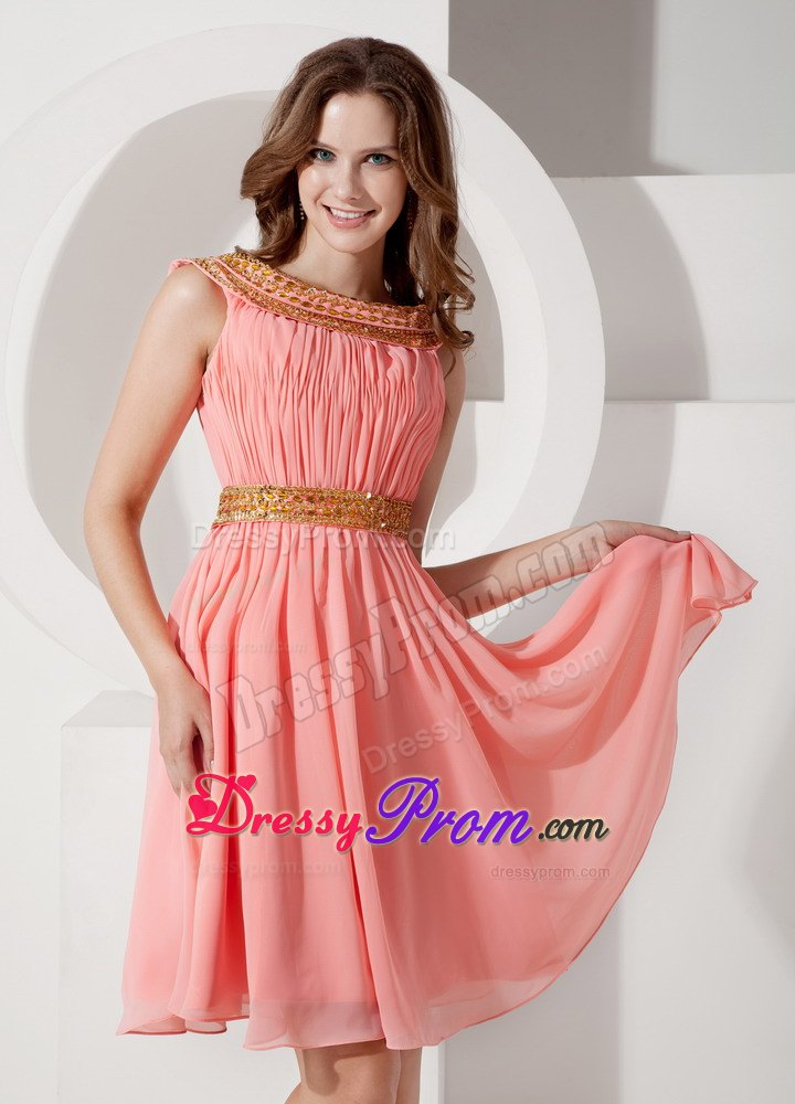 Beaded Bateau Watermelon Chiffon Knee Length Dress for Prom Queen