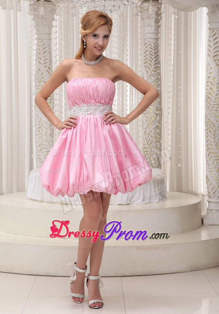 Sassy Pink Mini-length Prom Dress with Ruched Bodice Cheap
