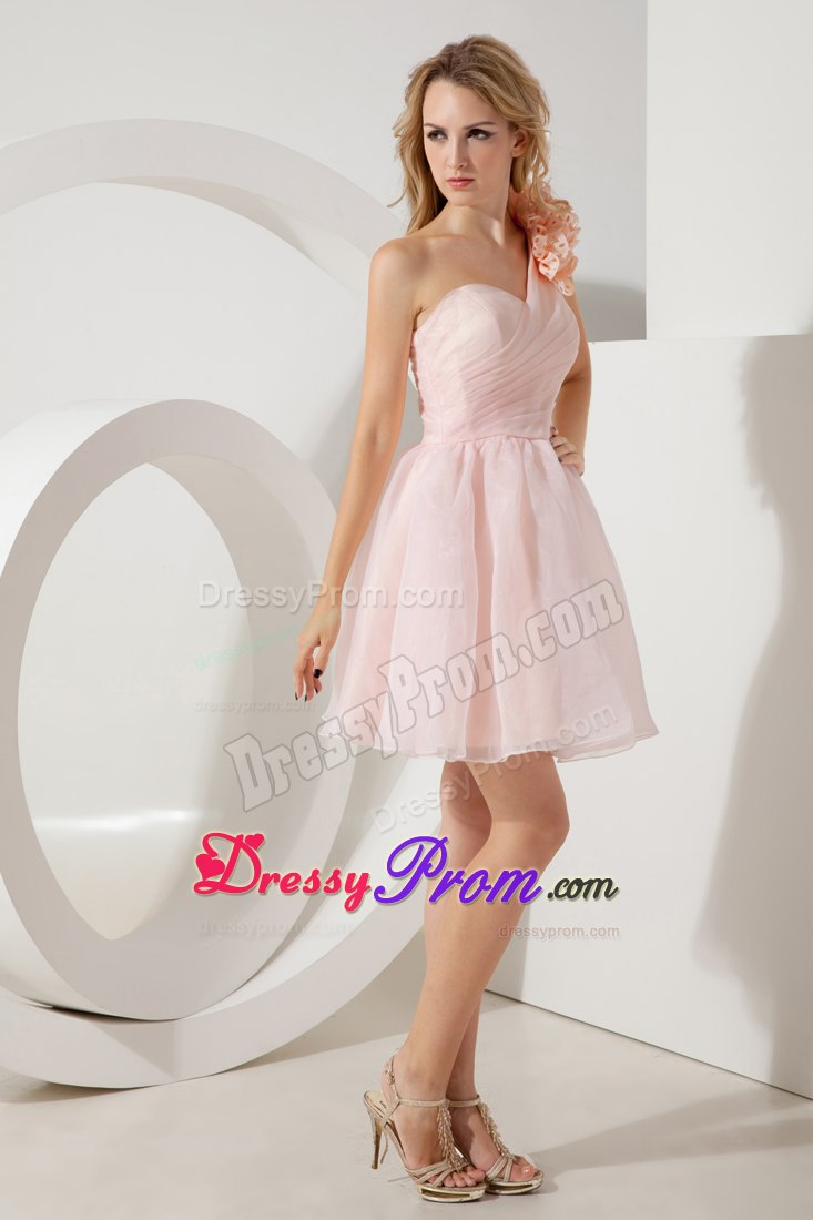 One Shoulder Light Pink Prom Evening Dress with Ruches