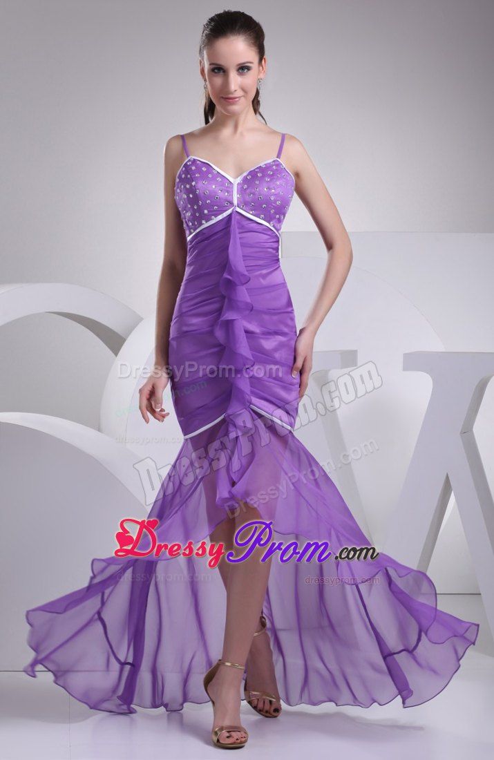 Spaghetti Straps High Low Pleating Ruffles Prom Dresses with Beading