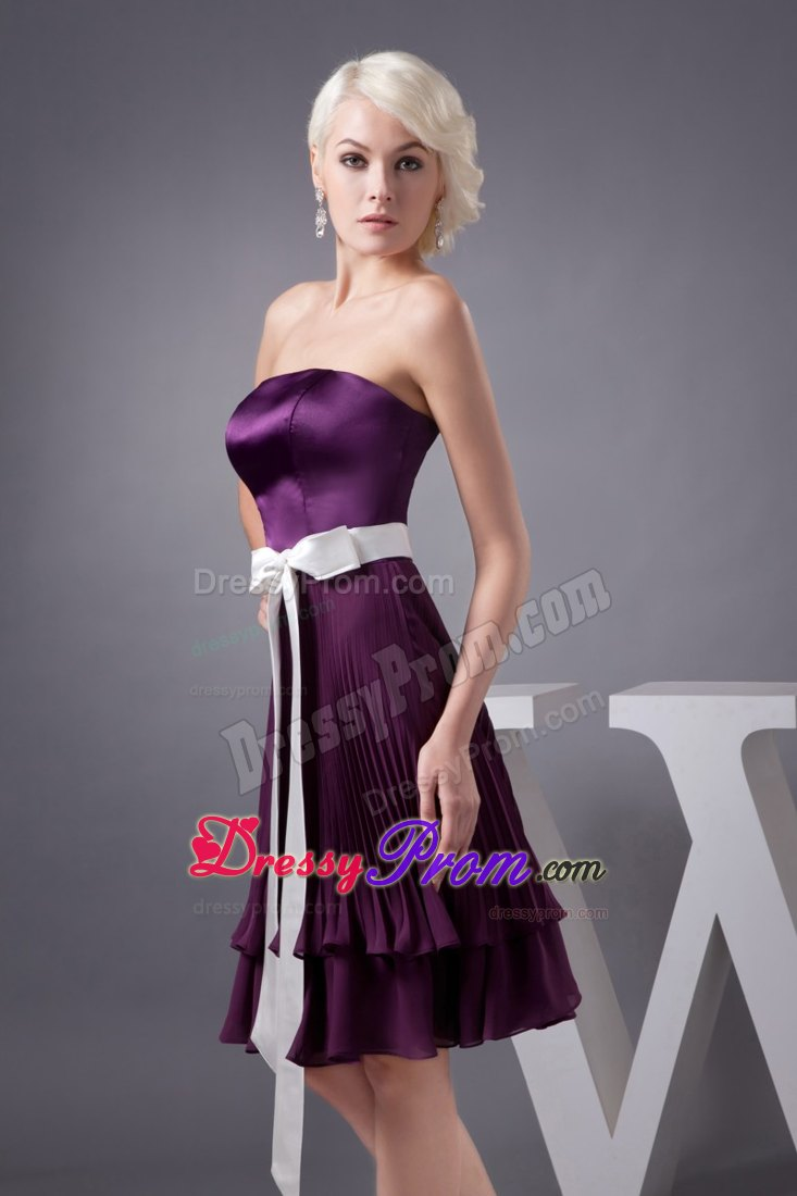 White sash and pleats accent purple prom gowns in for Wedding dresses montgomery al