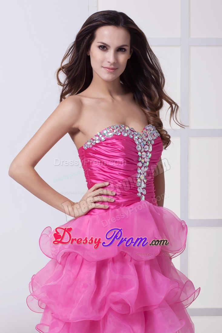 Beaded and Ruffled Hot Pink Mini Prom Dresses in Auburn AL 2013