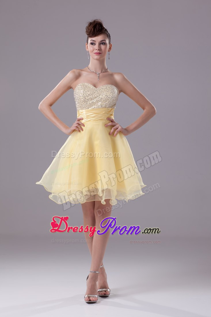 Ann Arbor Michigan Sequined Light Yellow Organza Prom Dresses