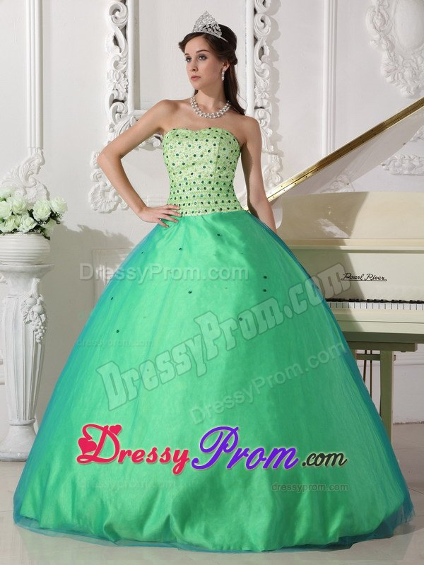 Beaded Lime Green Ball Gown Quinceanera Dress