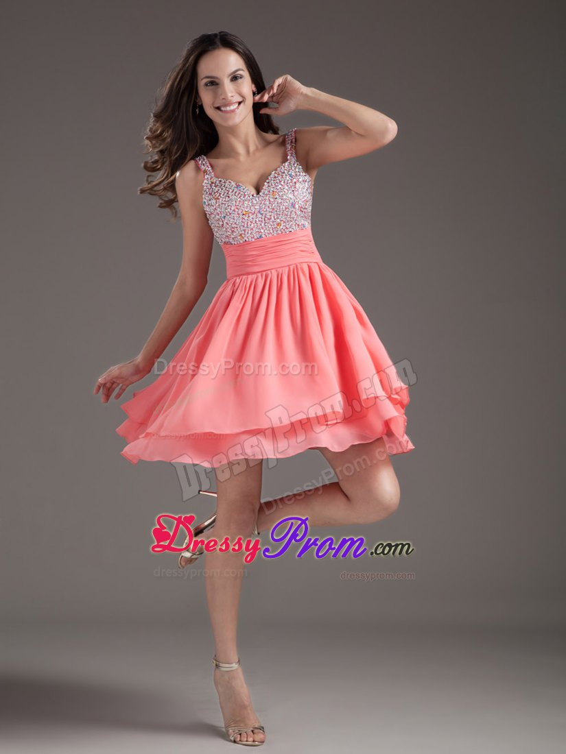 Hot Sale Fitted Beaded Straps Watermelon Puffy Short Junior Prom