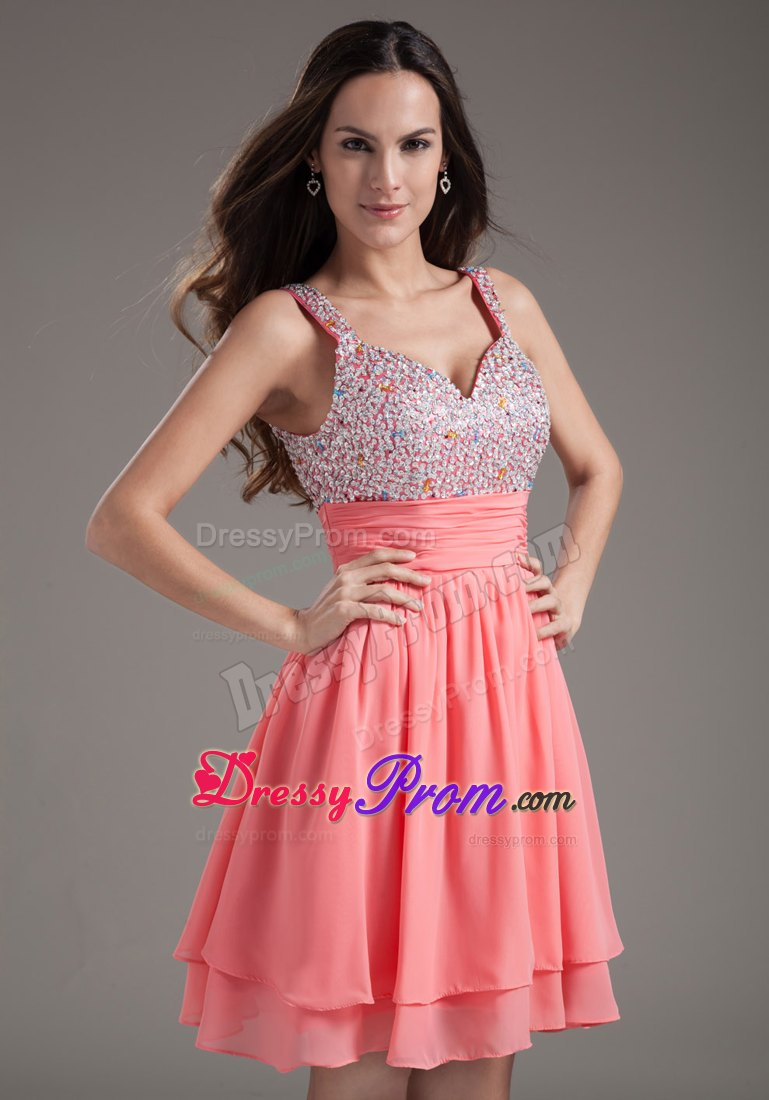 Hot sale fitted beaded straps watermelon puffy short junior prom product ombrellifo Choice Image