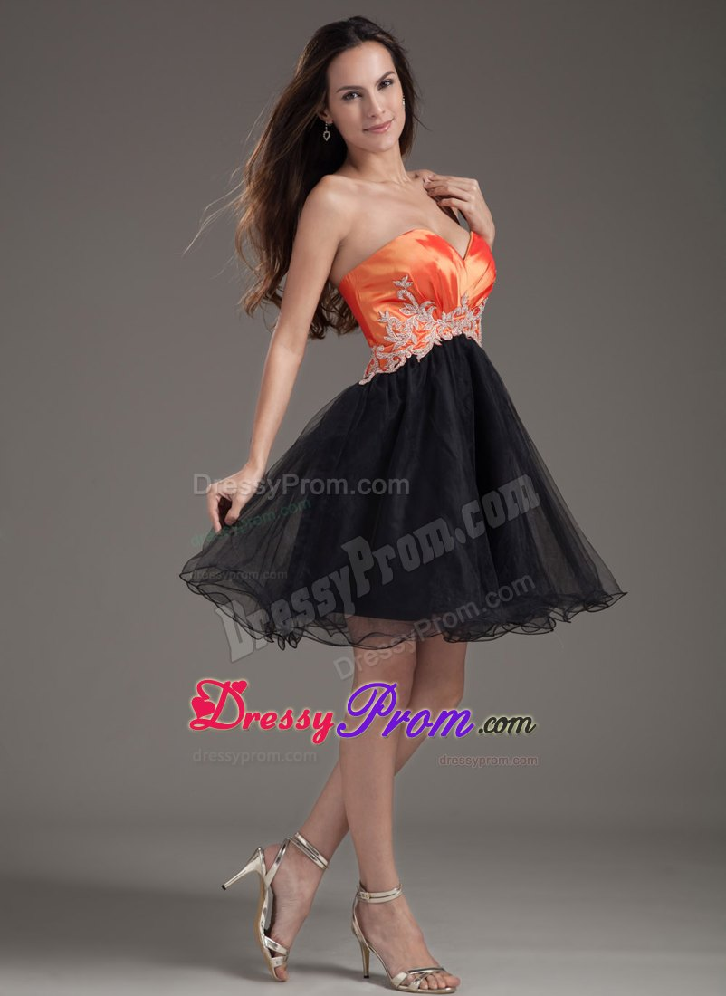 sexy orange red and black puffy appliqued short prom dress