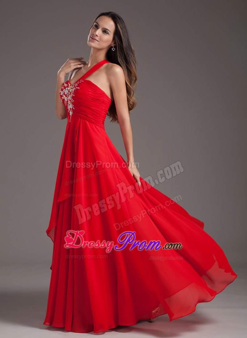 Wholesale red one shoulder beaded chiffon prom dress lace up product name wholesale red one shoulder beaded chiffon prom dress ombrellifo Choice Image