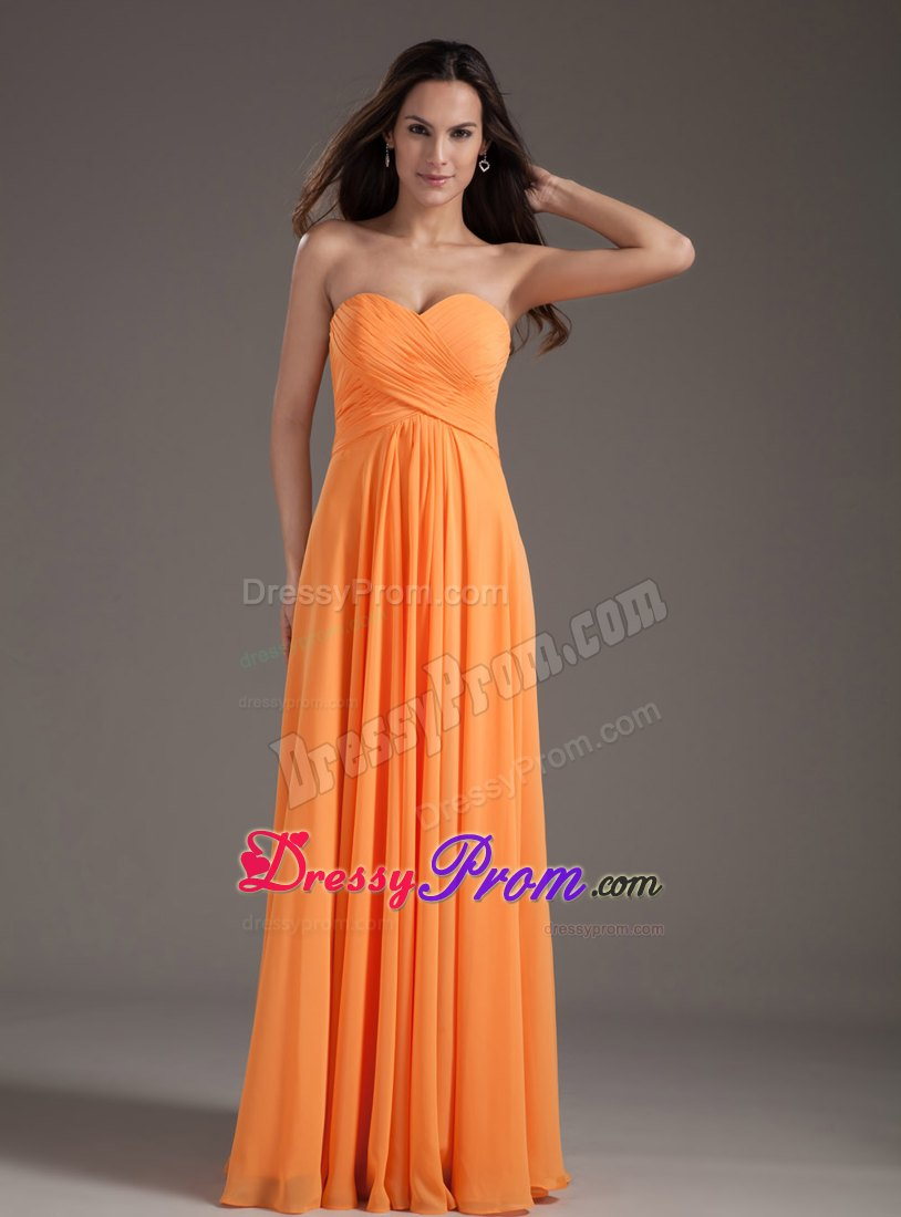 and Feminine Empire Sweetheart Orange Prom Evening Dress