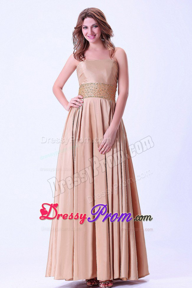 Beading Accent on Waist Ankle Length Khaki Dress for Prom Queen