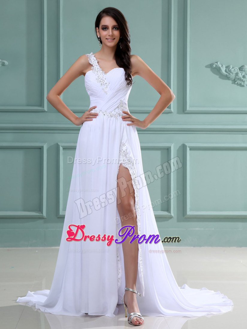 Appliqued One Shoulder White Dress for Prom Queen with High Slit