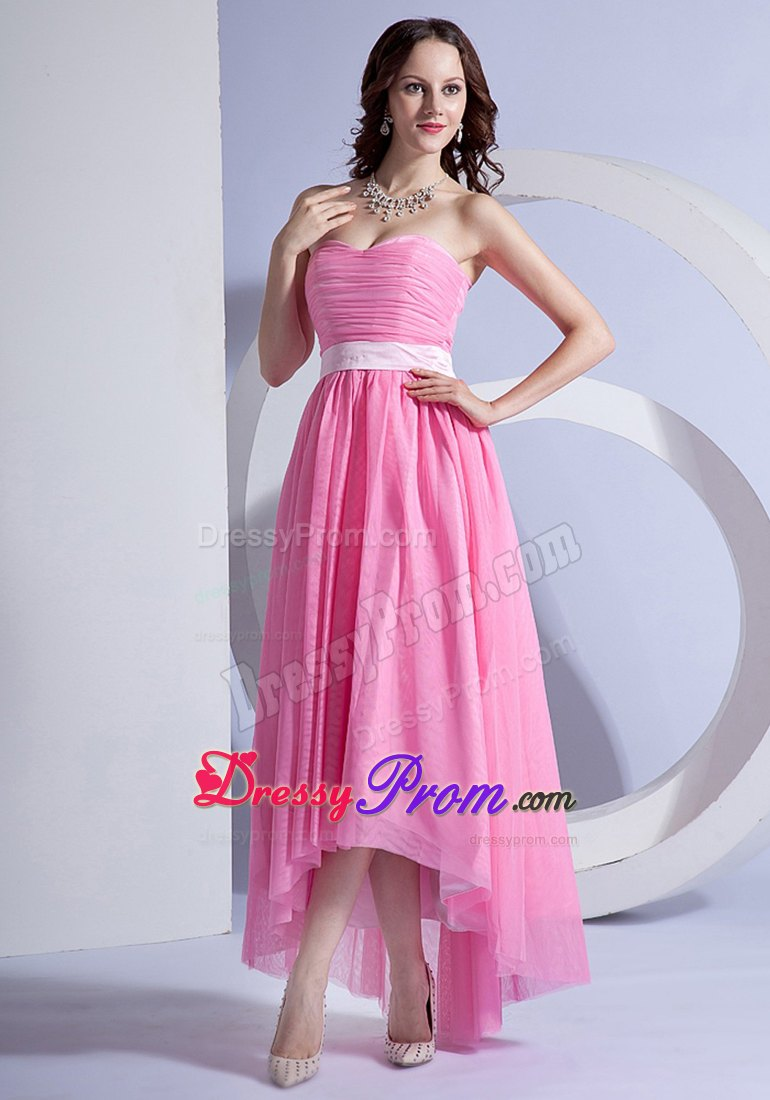 Rose Pink High-low Chiffon Dresses for Prom Queen with Sashes