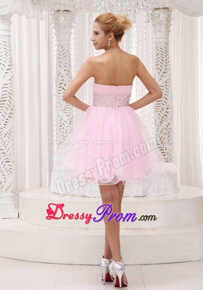 Beaded Up Bodice Baby Pink Prom Cocktail Dress with Mini
