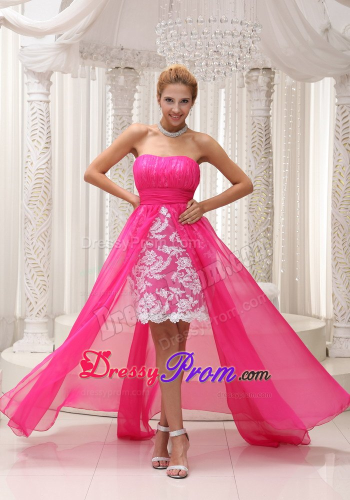 Pink High-low Ruching for Prom Dress Made in Lace and Chiffon