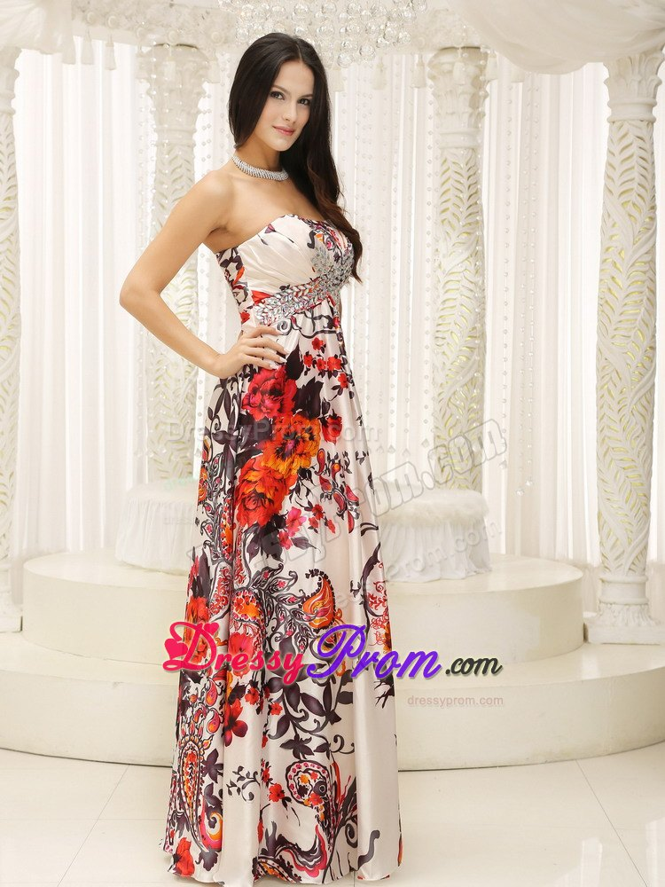 Strapless Long Dress for Prom Queen with Colorful Print