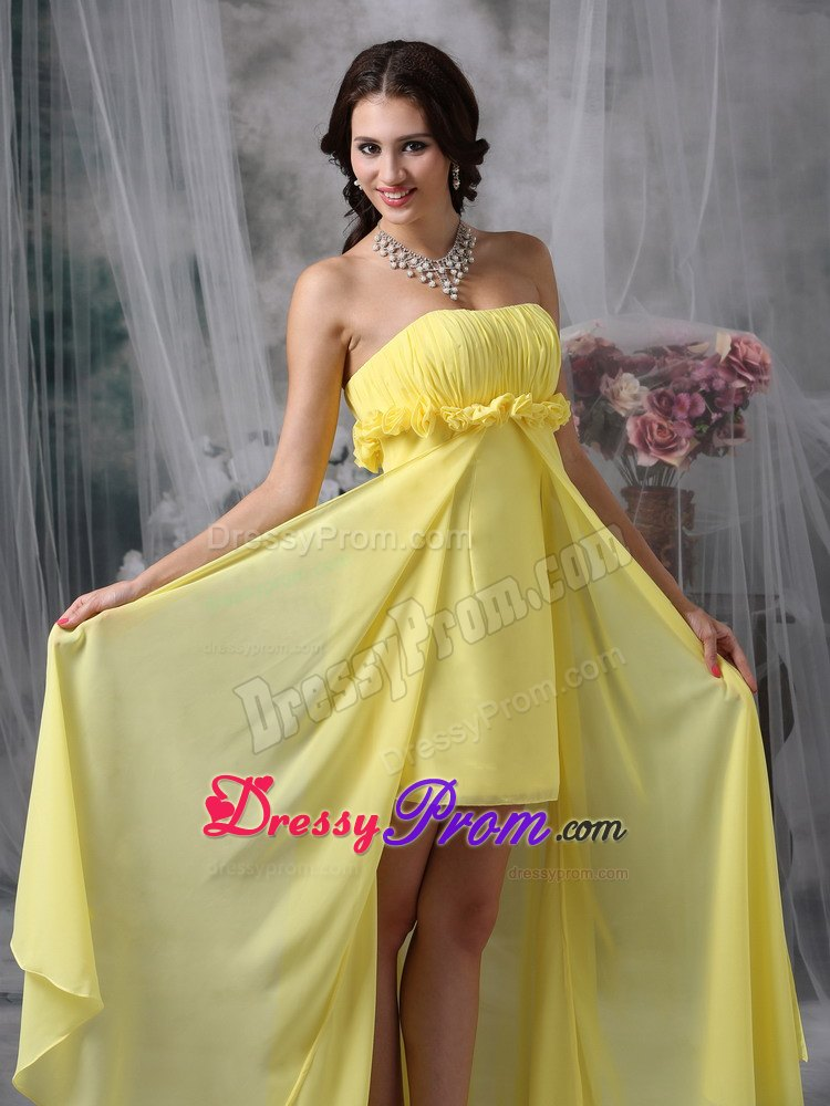 High-low Yellow Ruching Column Chiffon Hand Flowers JS Prom Dresses
