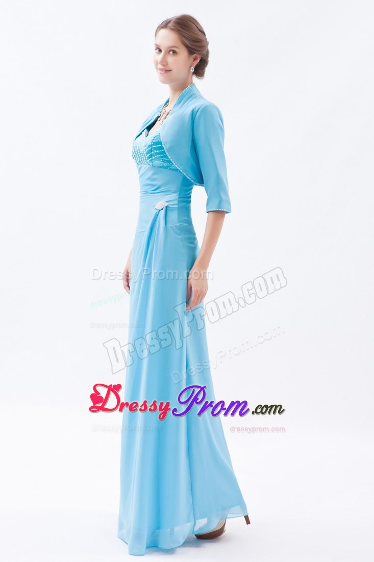 best Straps Long Baby Blue Prom Dama Dress for Quinceanera