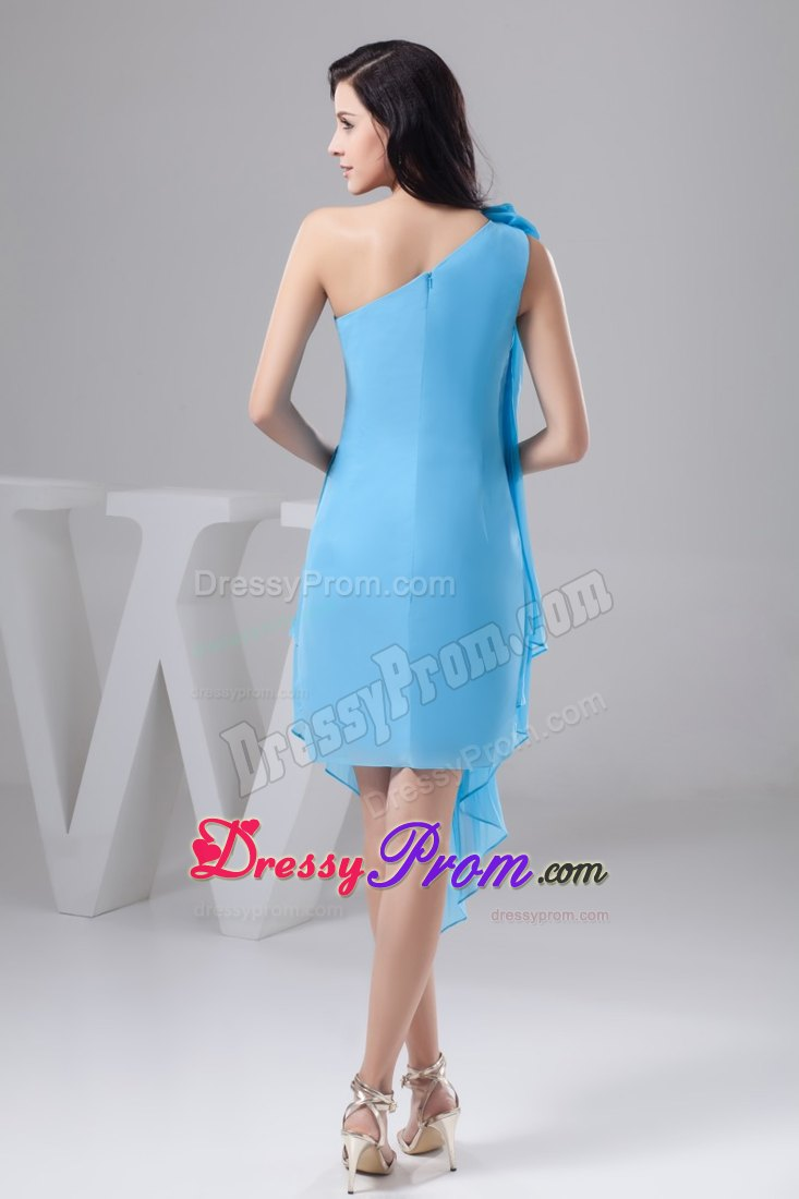 One Shoulder Pleated Aqua Blue Prom Dress for Girls with Flower