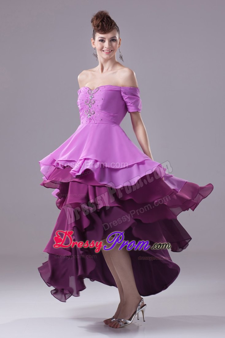 The-Shoulder High Low Purple Prom Dress with Short Sleeves