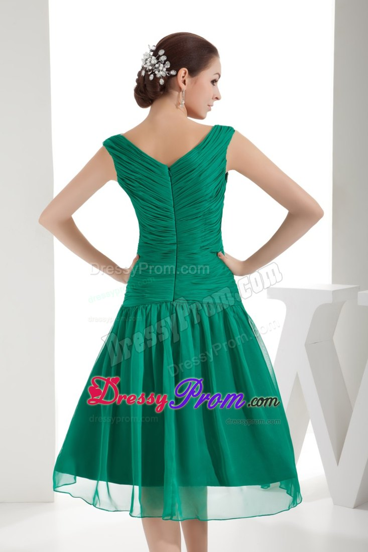 Bateau Mini-length Beaded Ruched Green Prom Dress Under 150