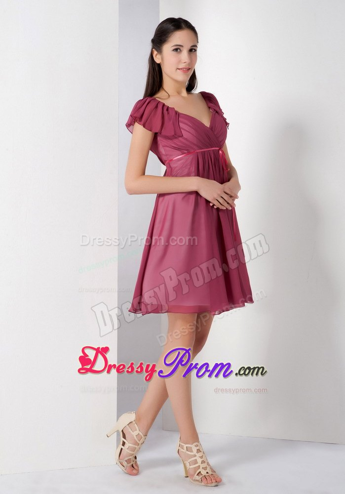 A-line V-neck Burgundy Ruching Chiffon Knee-length JS Prom Dresses