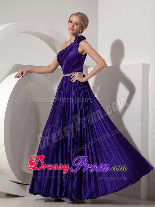 Purple Pleated One Shoulder Formal Dress with Beading Belt