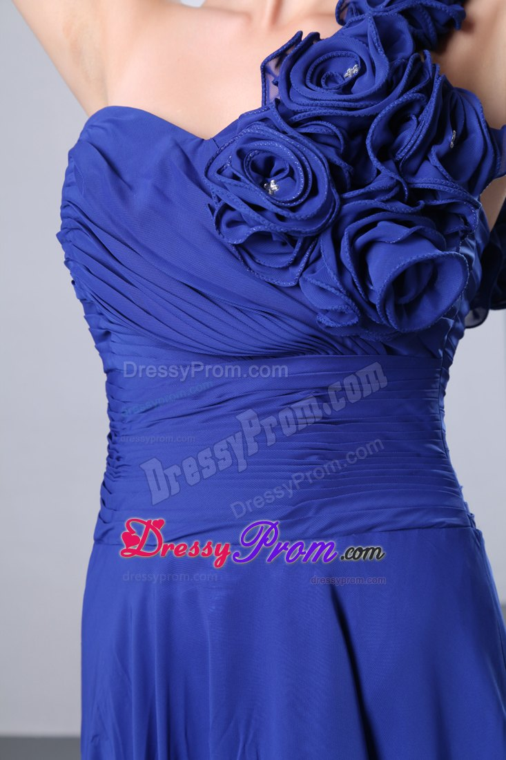 Royal Blue One Shoulder Chiffon Prom Dress Flowers Accent