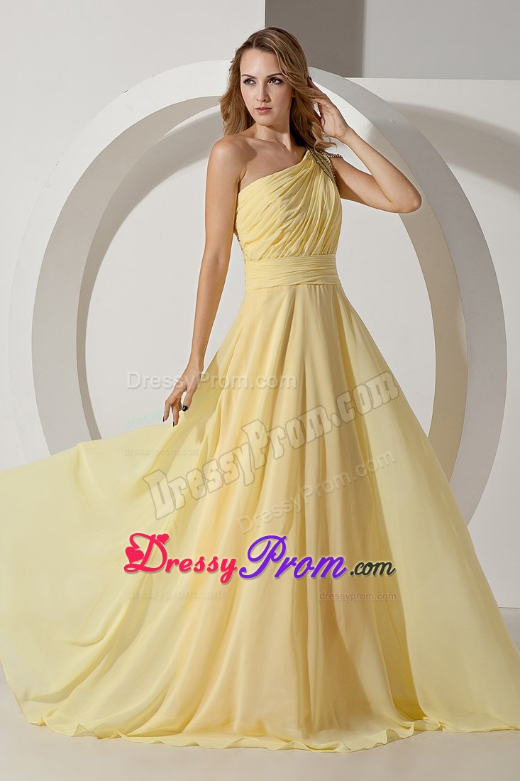 Light Yellow Empire One Shoulder Beaded for Prom Dress