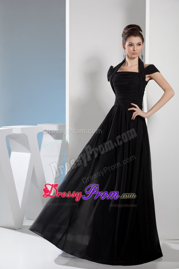 Princess Halter-top Floor-length Ruching Black Prom Dress in Vancouver