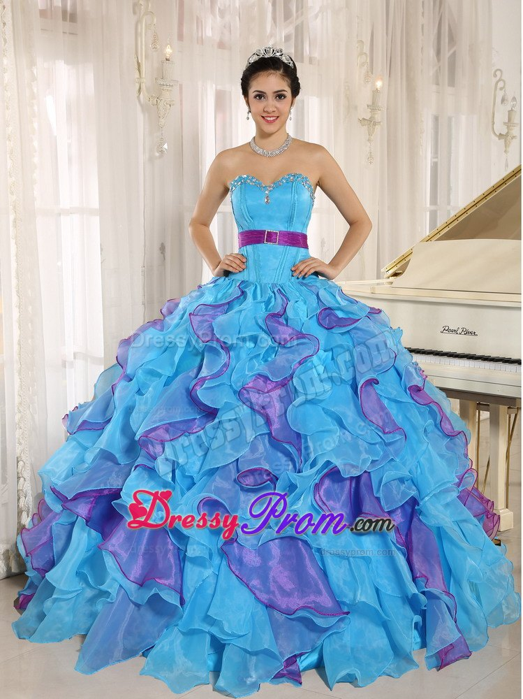 Aqua Blue and Purple Appliques Belt Quinceanera Dresses