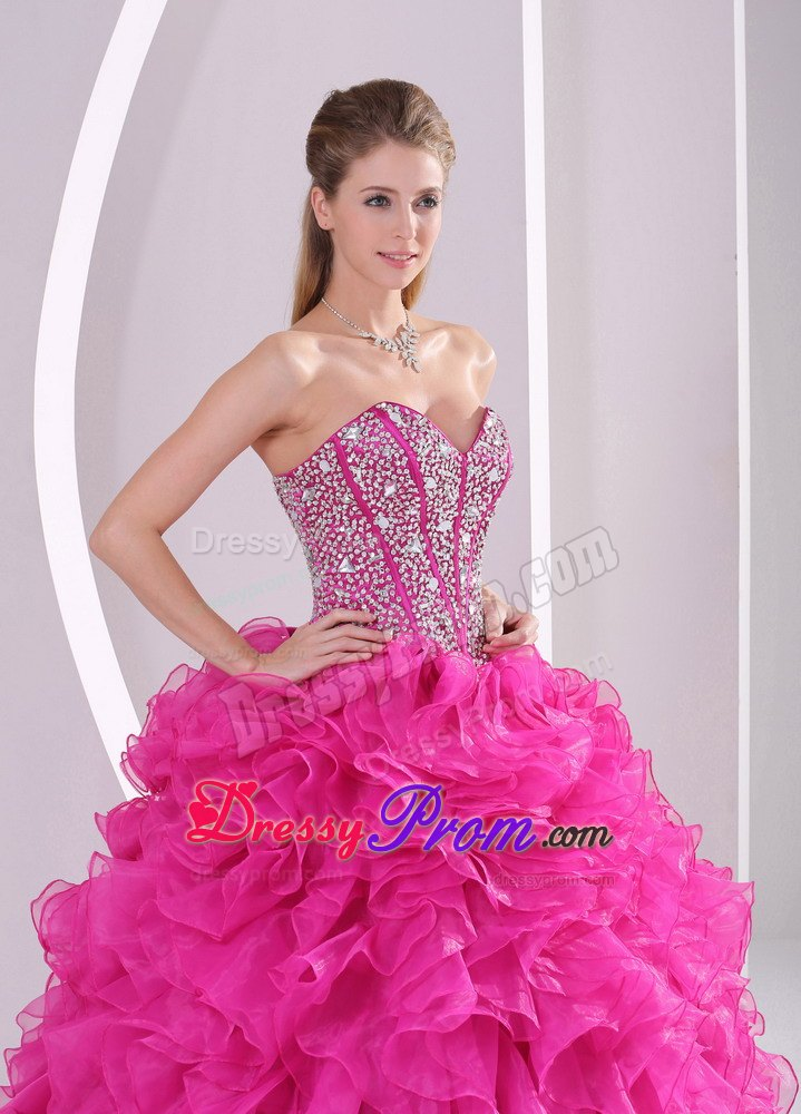 Sweetheart Ruffles Fuchsia Back Out Quinceanera Gown Dresses