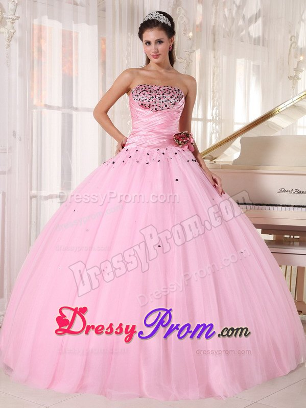 Strapless Beading Ruches Baby Pink Puffy Quinceaneras Gowns