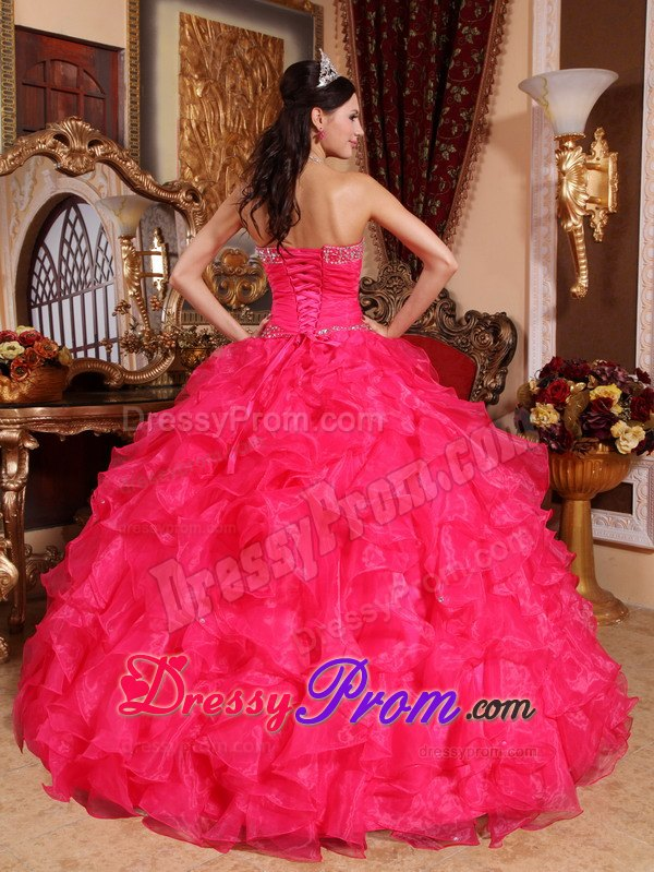 Ruffled Sweetheart Beading Floor Length Organza Coral Red