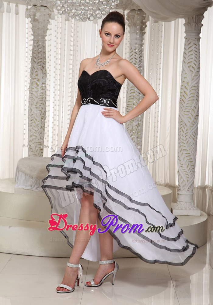 Black And White Organza Sweetheart Belt Beading High Low Prom Dress