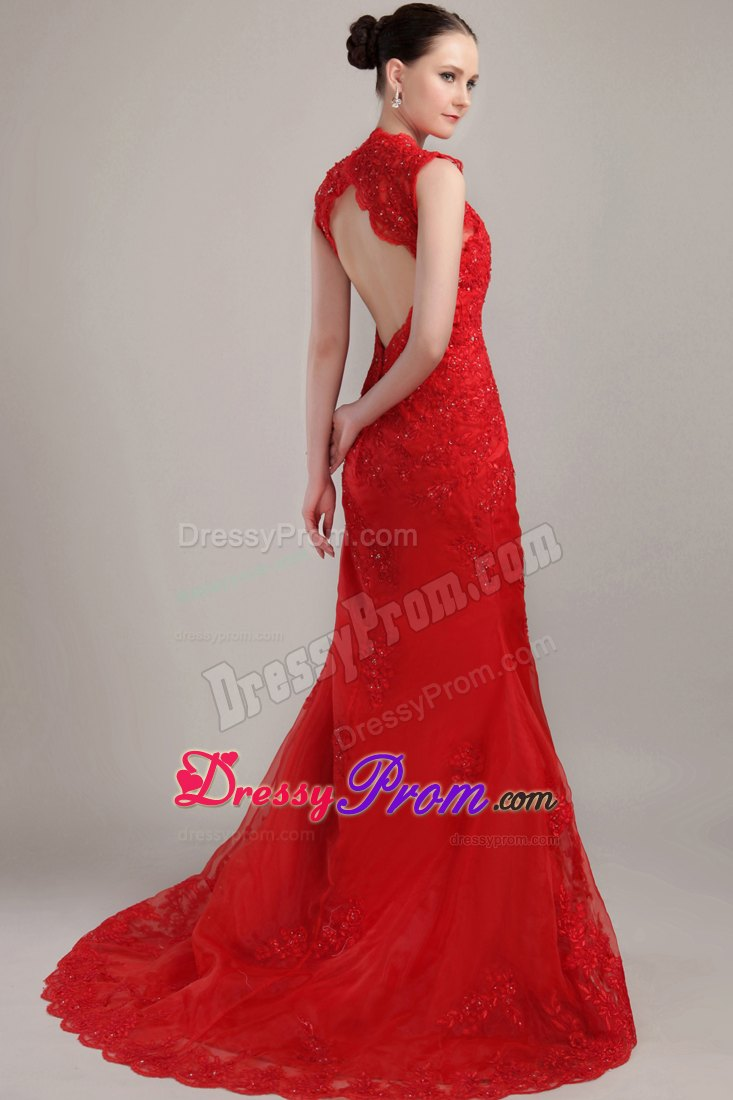 Straps Red Mermaid V Neck Brush Lace Prom Dress With Back Cutout
