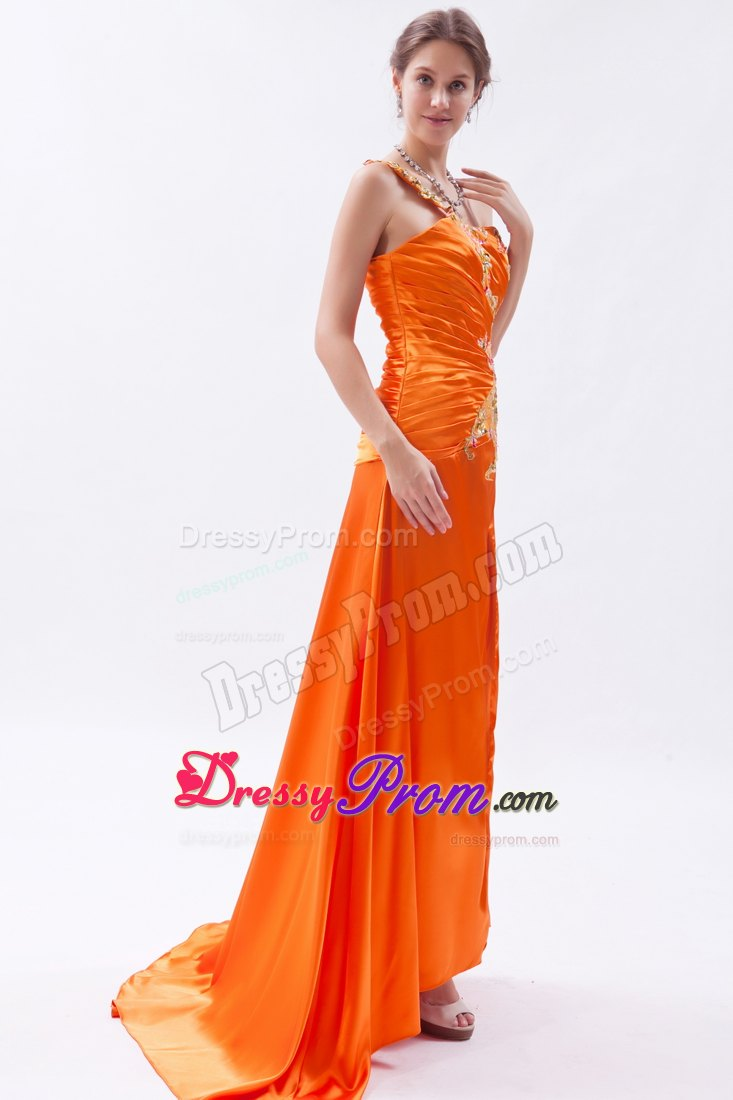 orange one shoulder brush train embroidery and beading