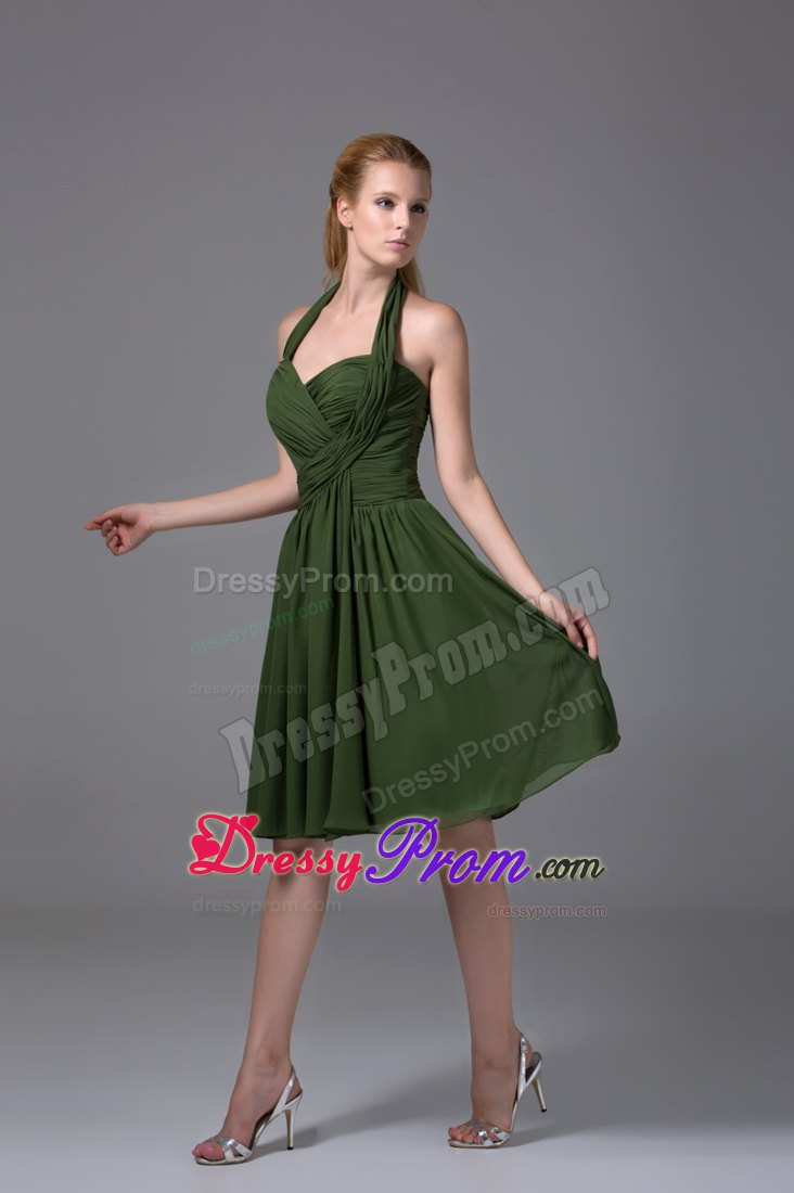 Green Halter Ruched Chiffon Knee-length Prom Homecoming Dress