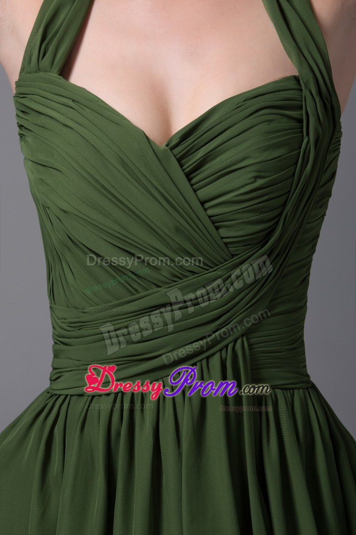 Green halter ruched chiffon knee length prom homecoming dress dark green halter ruched chiffon knee length prom homecoming dress ombrellifo Image collections